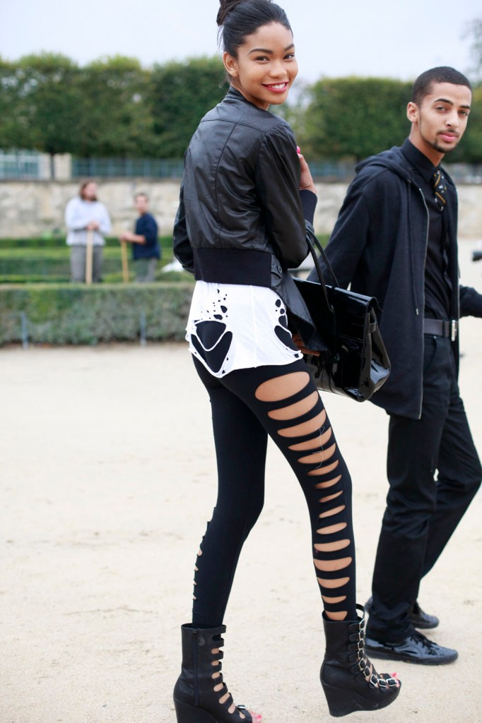 leggings with holes chanel iman
