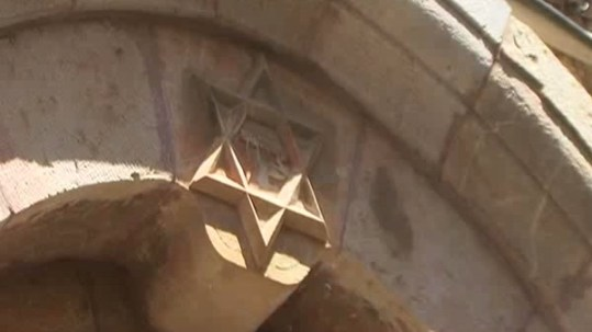 Jewish star over building
