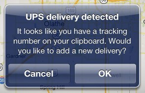 Delivery Status on iOS auto-add tracking number