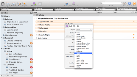 OmniFocus User Interface, version 1.10
