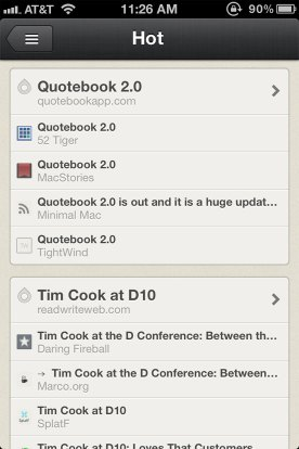 Reeder 3 showing Feever's Hot List