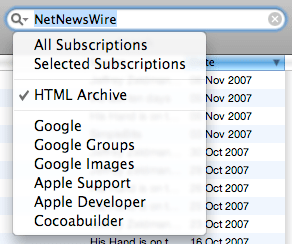 NetNewsWire's new search feature: HTML Archives