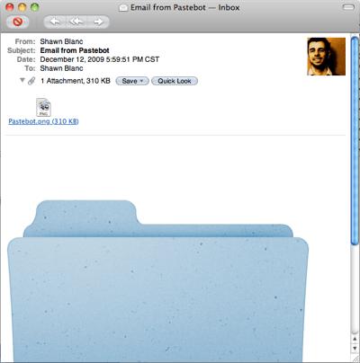 Pastebot - emailing a folder