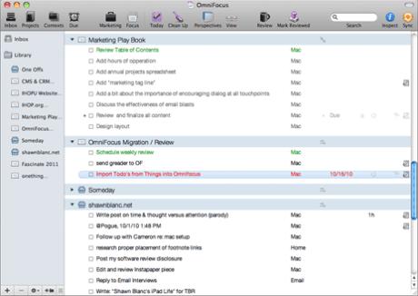 OmniFocus User Interface, version 1.8