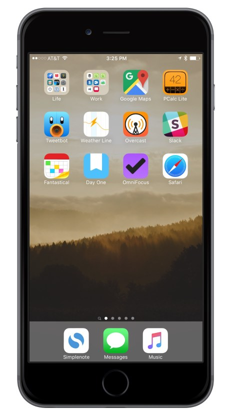 Shawn Blanc iPhone Home screen 2016-02-15