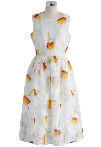 Double Thumbs Dresses #79 | Divine Daisy Print Organza Midi Dress £39.97 (sale price) from Chicwish