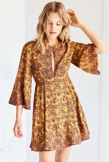 She and Hem | Split-Neck Bell-Sleeve Dark Yellow Mini Dress £52 by Ecote Tyler from Urban Outfitters