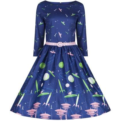 'Holly' Space Dog Print Blue Swing Dress £35 from Lindy Bop