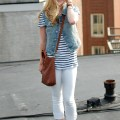 Striped Tee + White Jeans + Denim Vest