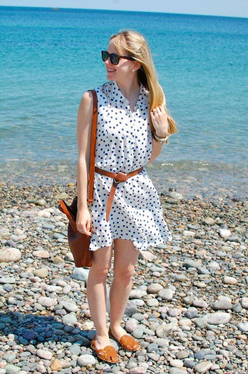 Navy White Dot Dress