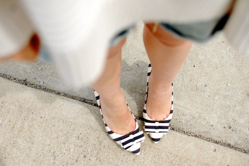 Navy White Bow Shoes
