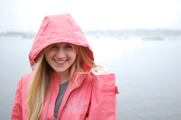 pink hooded rain jacket