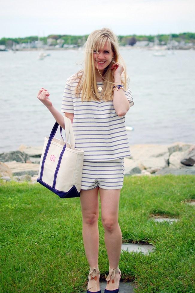 navy white stripe top shorts set