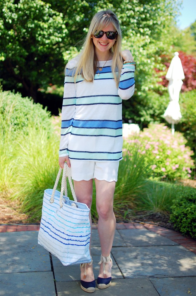 navy green striped sweater