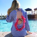 Pink Blue Stripe Tassel Beach Cover Up