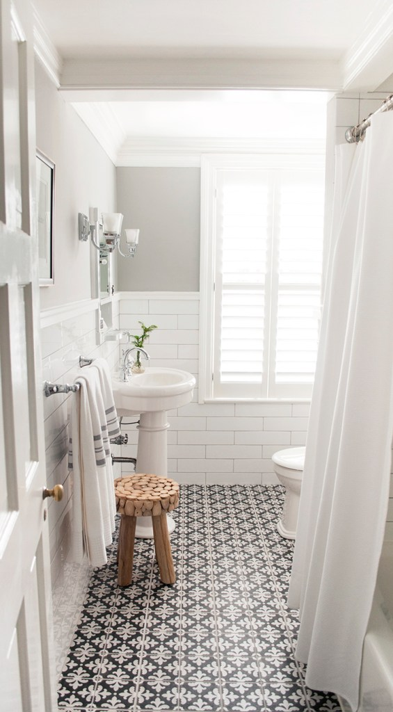 gray moroccan tile floor