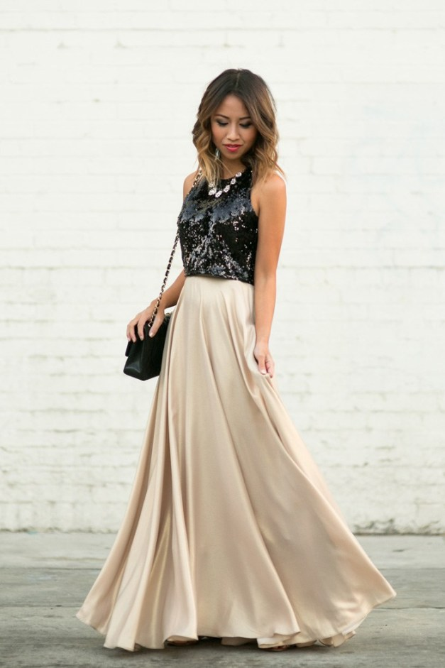 black sequin crop top gold skirt