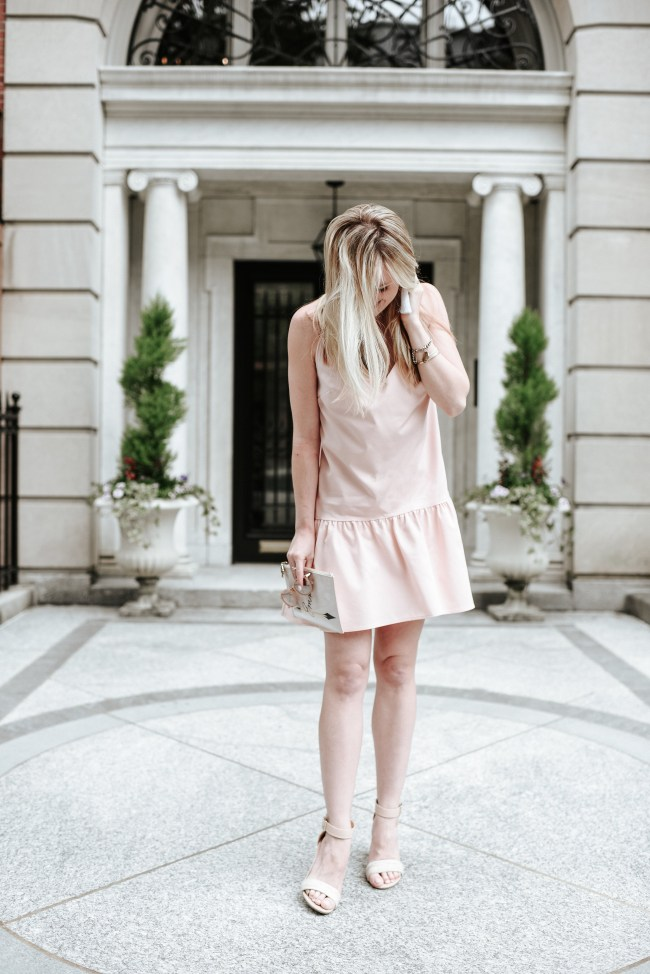 pink drop waist ruffle dress