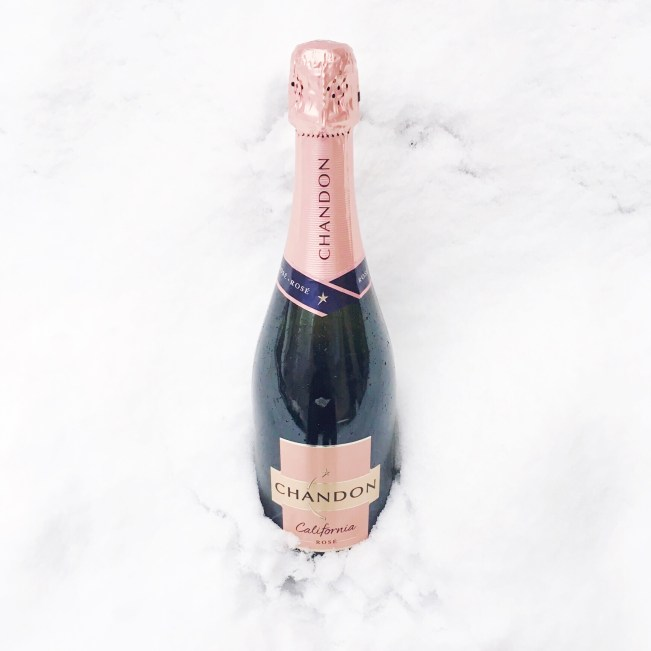 champagne in snow photo
