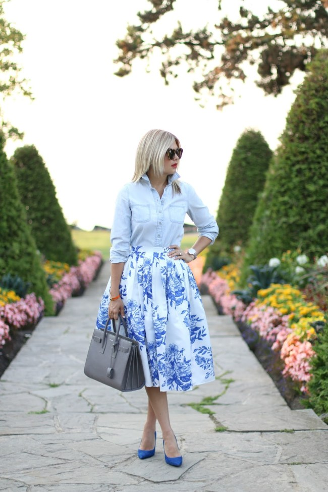 chambray + blue and white skirt outfit; suburban faux pas