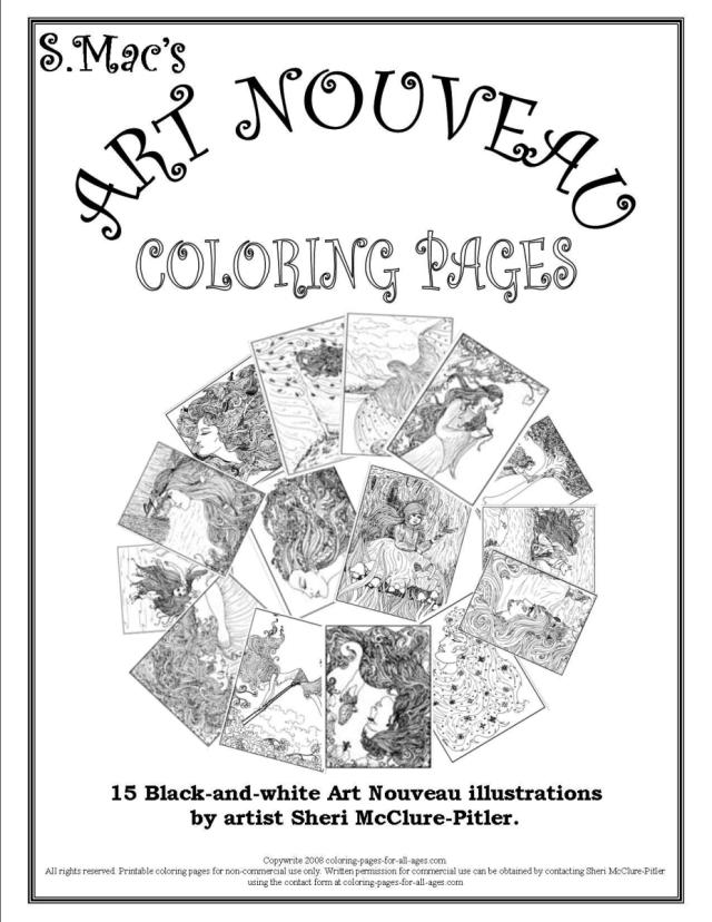 Artists Colouring Book Art Nouveau : S.macs art nouveau coloring pages u2013 downloadable book
