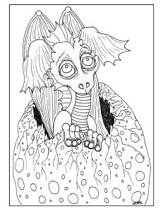 S.Mac's Dragon Art Coloring Page, Baby Dragon