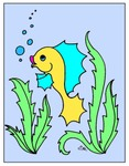S.Mac's Funny Fish Coloring Page, Bubbles, in color