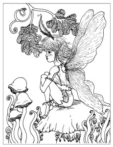 S.Mac's Pensive Fairy Coloring Page