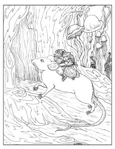 S.Mac's Gnomes Coloring Page, Gnomes Riding Bareback on a Mouse