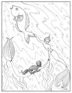 S.Mac's Mermaids Hitching a Ride Coloring Page
