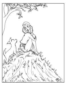 S.Mac's Pierrot Coloring Page, Pierrot on Hilltop