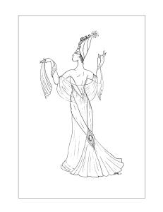 Art Deco Coloring Page by S.Mac, Deco gal in Low-Back Dress