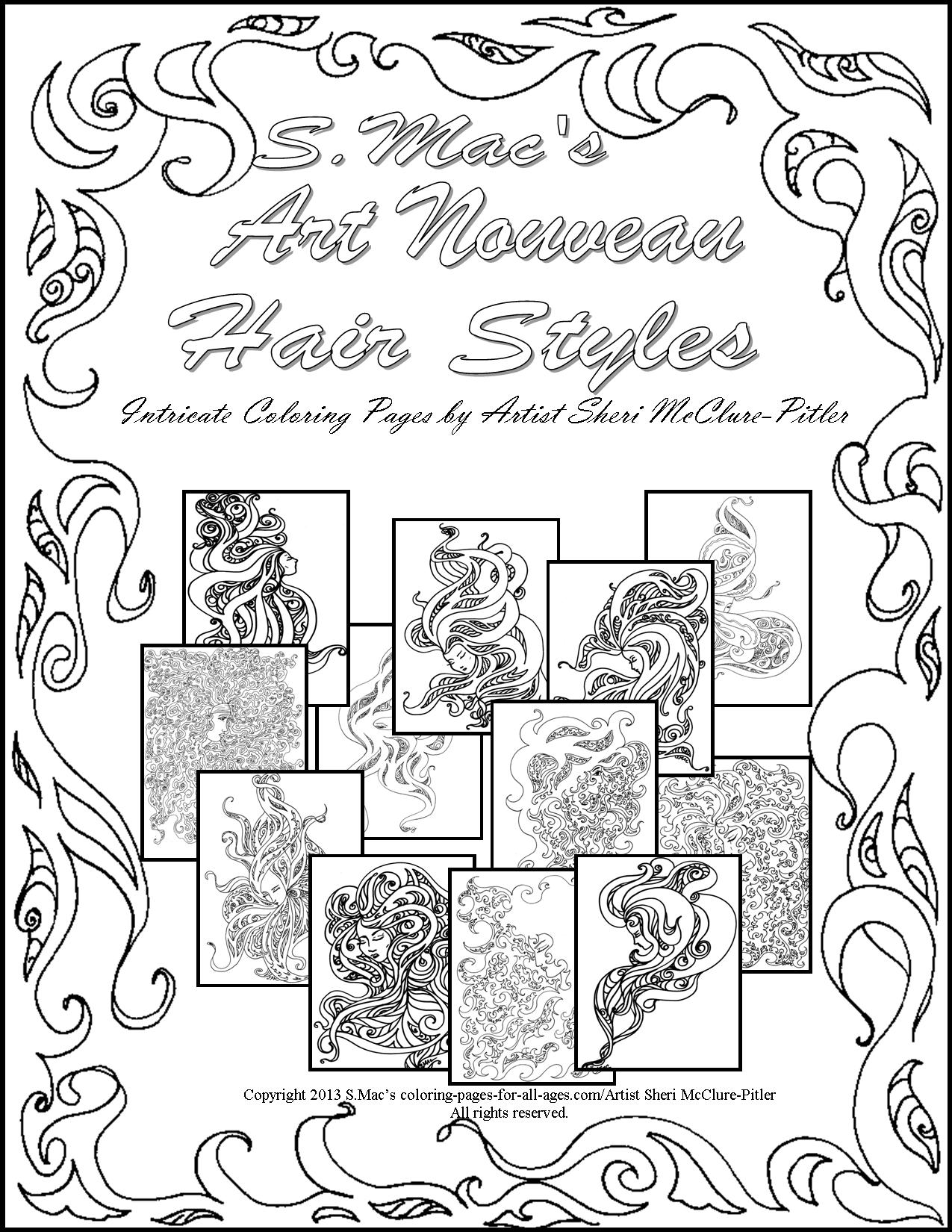S.Mac's Art Nouveau Hair Styles Downloadable Coloring Book