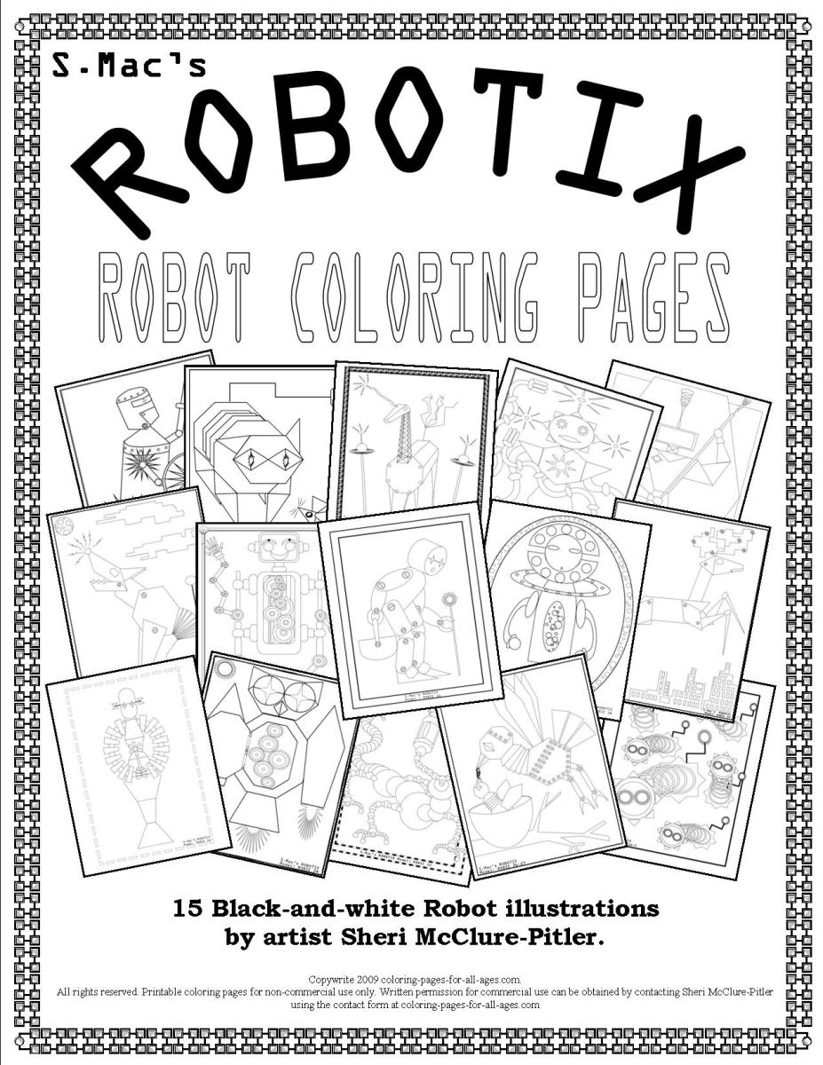 Coloring sheets robots - S Mac S Robotix Robot Coloring Pages Downloadable Coloring Book S Mac S Place To Be
