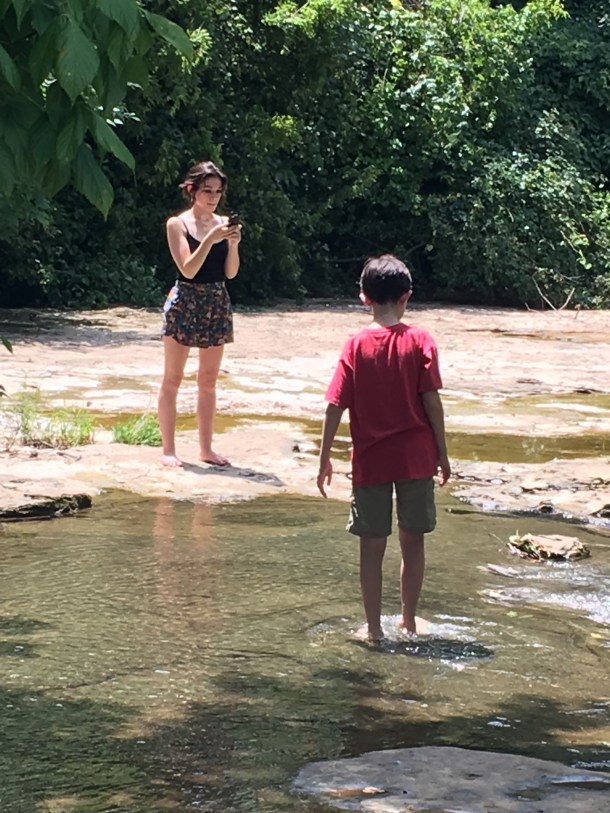 Playing in the river while catching Pokemon