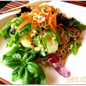 Sesame Noodle Salad with Peanut Ginger Dressing