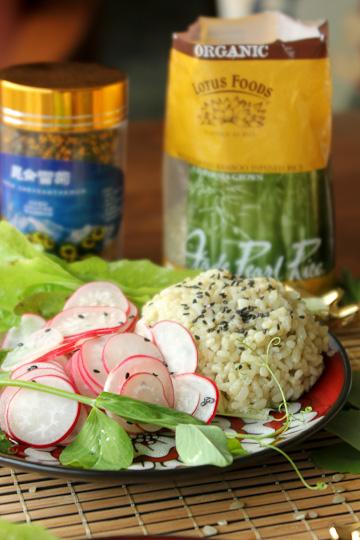 Radish salad, Lotus Foods, Jade Pearl Rice
