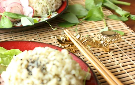 radish salad, dragon chopstick rest