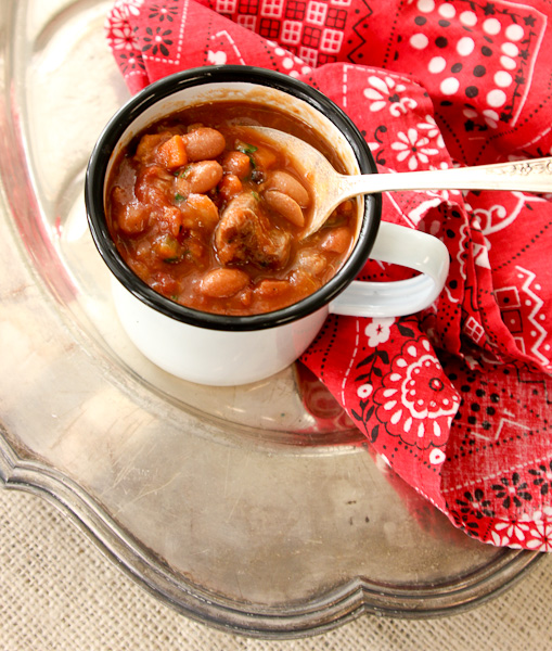 Slow cooker pork and beans, ham and beans