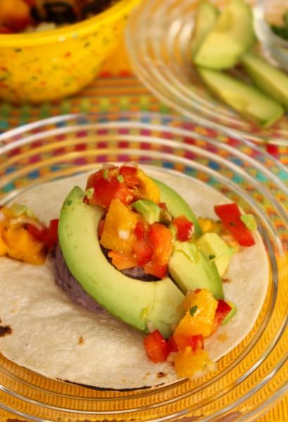 Potato Tacos w/ Avocado Mango Salsa | ShesCookin.com