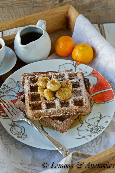 18 Brunch Recipes for Mother's Day, Chocolate-Belgian-Waffles-with-Caramelized-Bananas