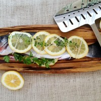 Farmers Market Dinner - Lemon and Herb Stuffed Grilled Branzino