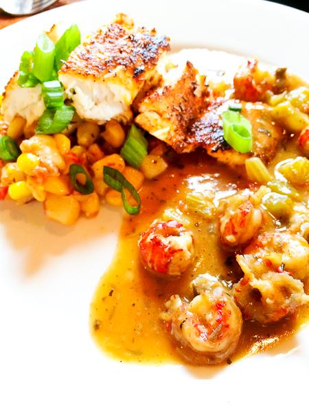 Blackened Redfish, Crawfish Etoufee, Andouille Sausage Hash