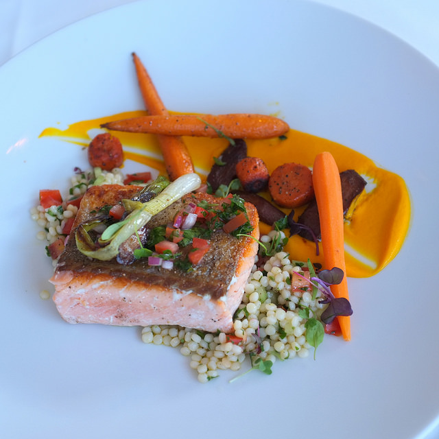 Scottish Salmon, Israeli Couscous, Carrot Ginger Puree