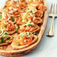 Skinny Sriracha Chicken Potato Skins