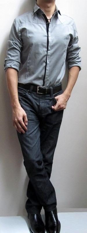 grey-dress-shirt-dark-brown-belt-black-jeans-black-ankle-boots