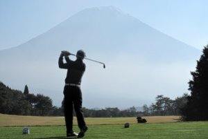 Playing golf at Mt Fuji