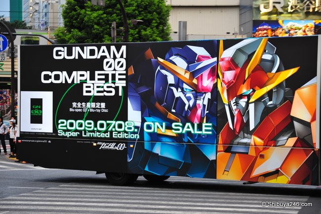 Truck advertising for Gundam DVD at Shibuya Station