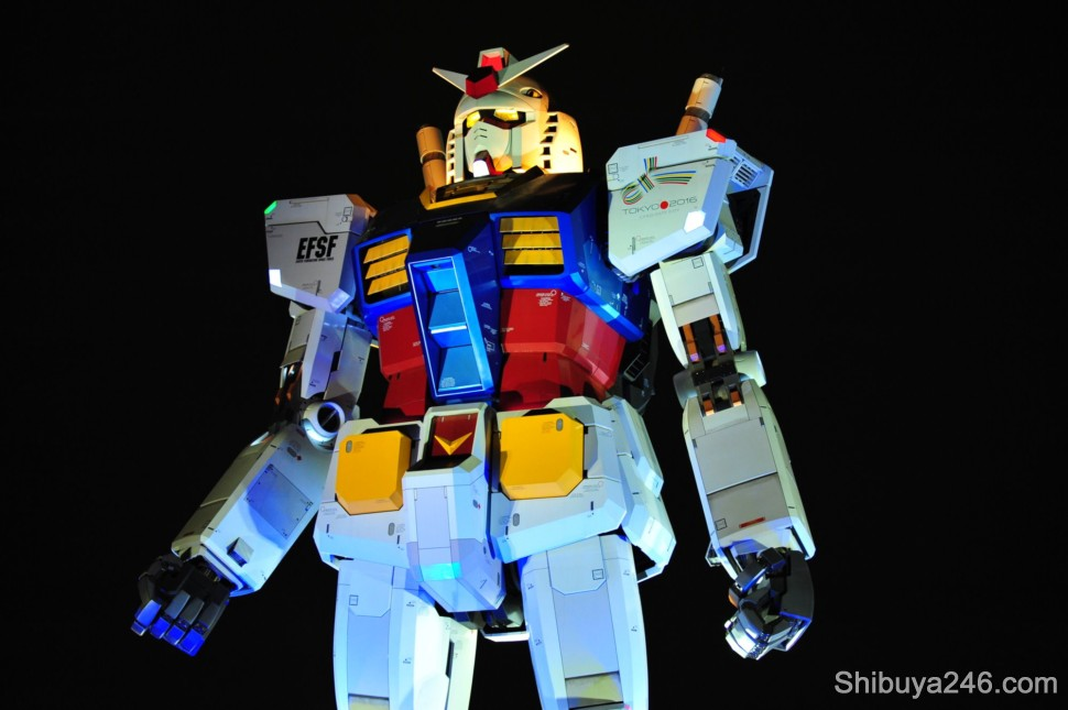 Gundam stands out strongly against the black sky, letting people know he is still in charge