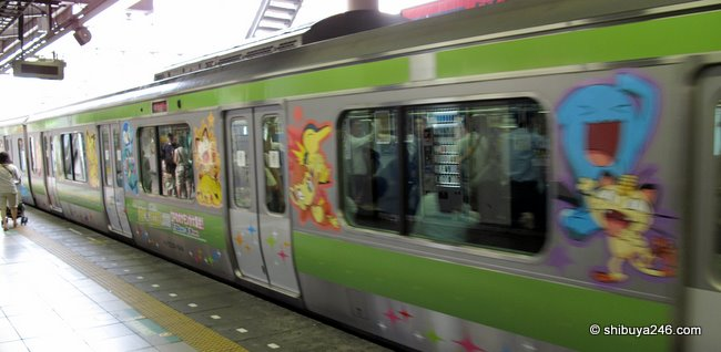 The Yamanote Train decorated with Pokemon characters